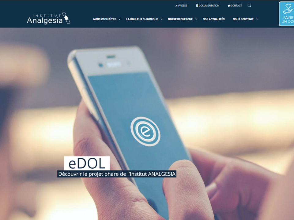 Page accueil Site web ANALGESIA